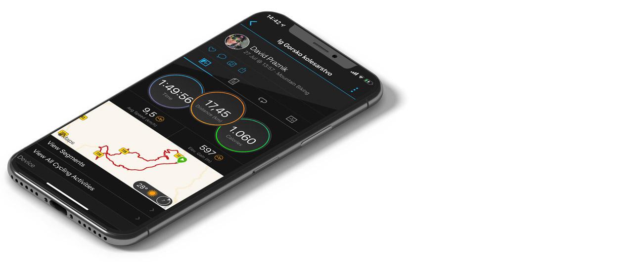 Garmin Connect - mobilne aplikacije za gorske kolesarje